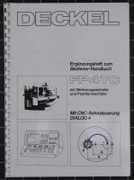 Deckel Ergänzungsheft zum Bedienerhandbuch FP4TC